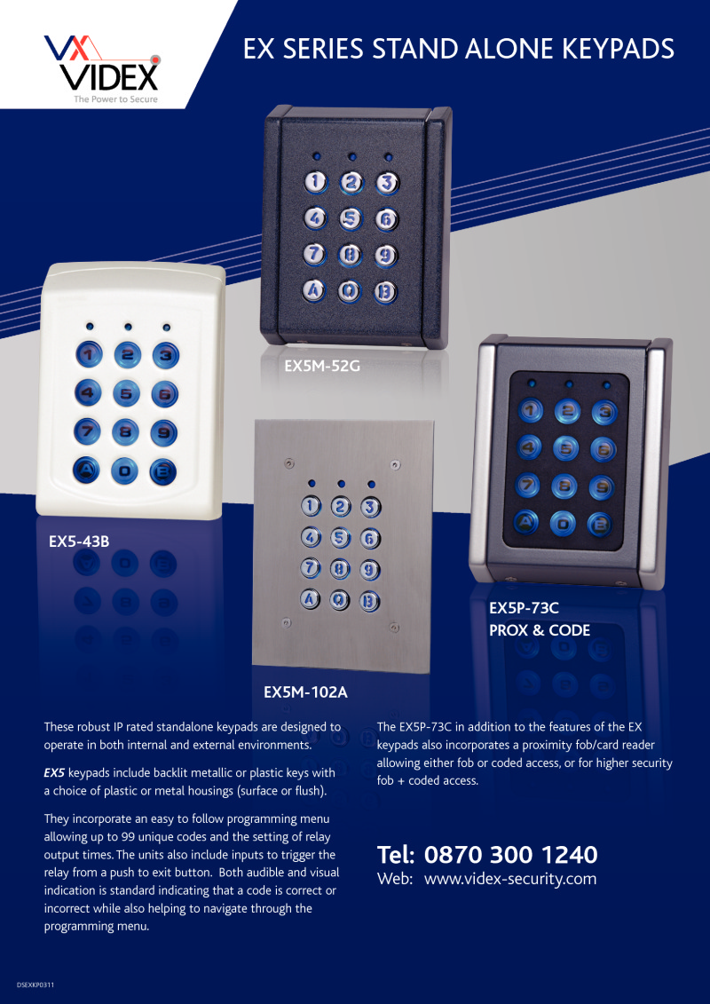 Videx EX series - Stand alone digital code locks