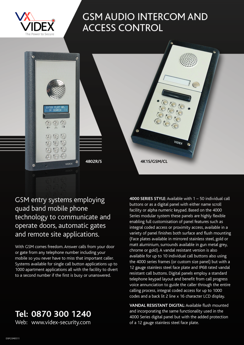 Videx GSM audio intercom with access control