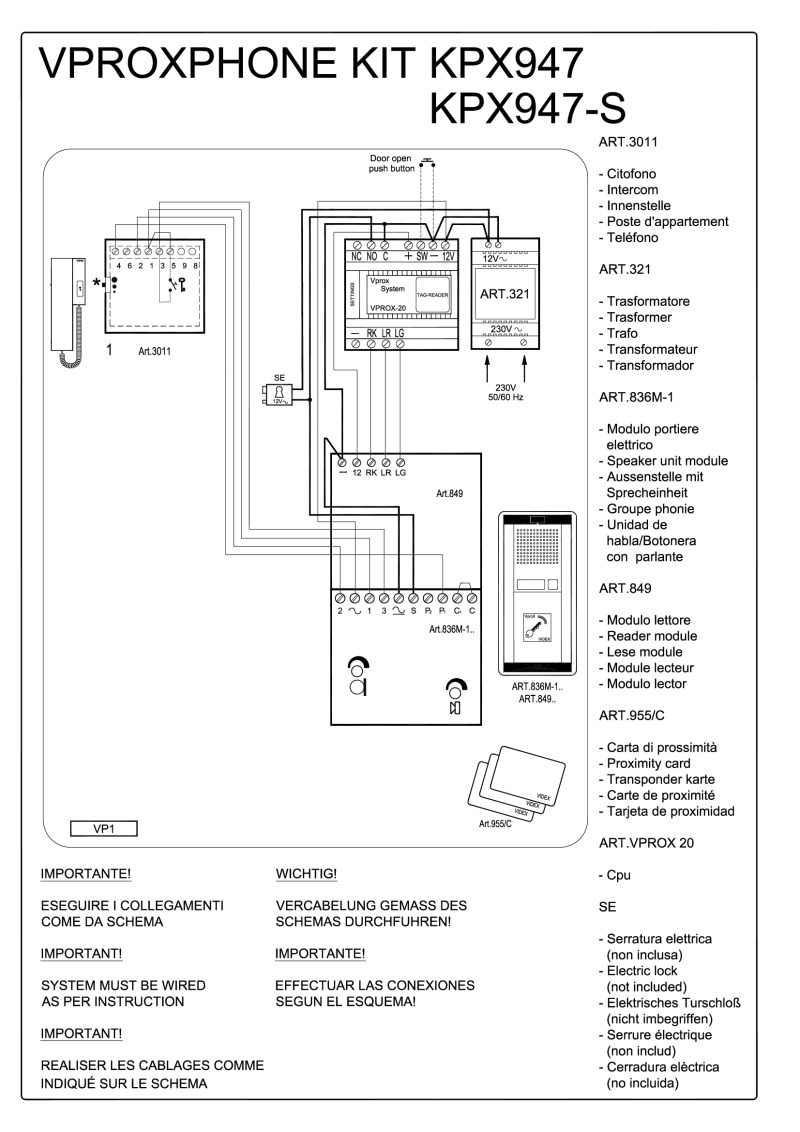 Videx 836M series Audio Wiring Diagram - 1 x Entrance (836M/1 + 849 pr