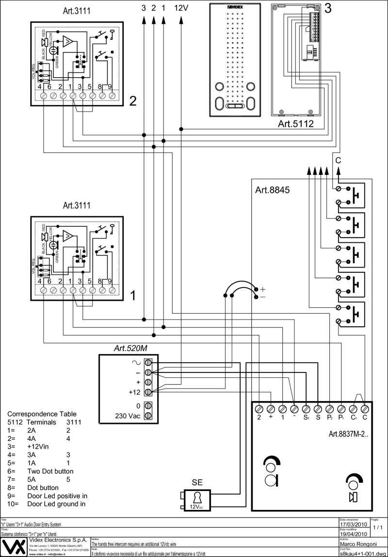 S8KAU4+1 001 Model videx 800 series wiring diagrams farfisa door entry wiring diagrams at fashall.co