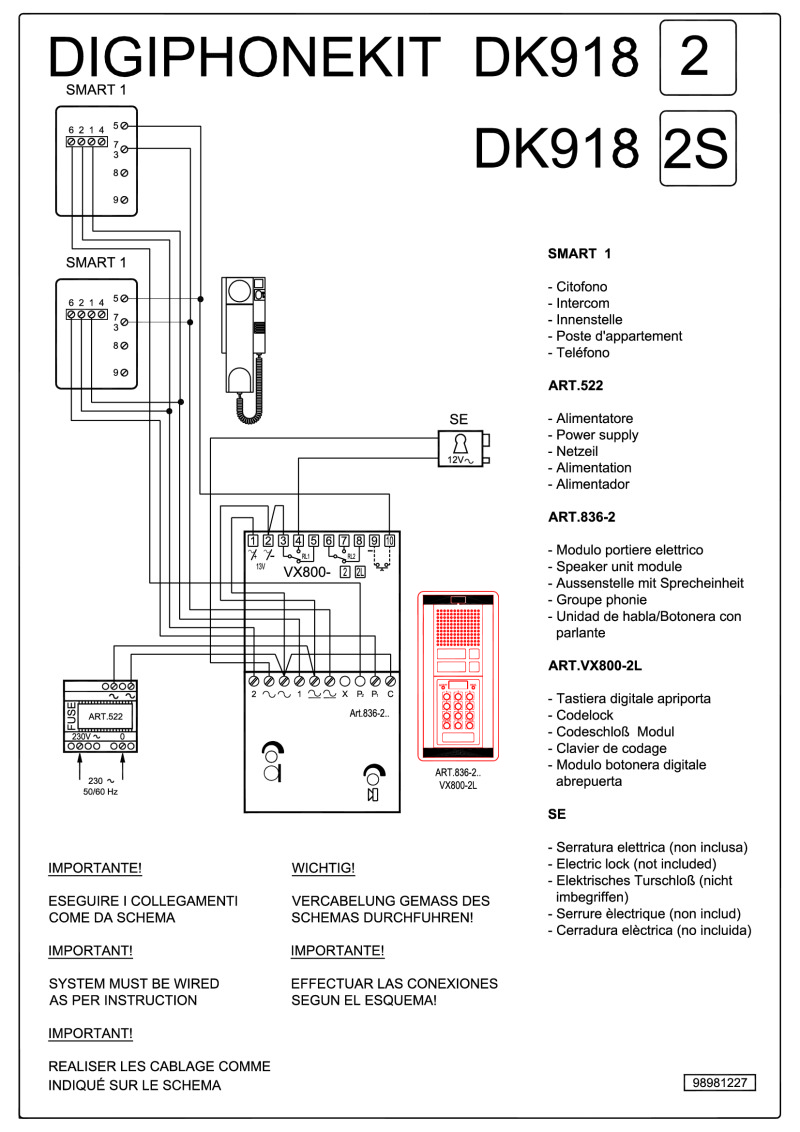 Videx Kit Wiring Diagrams 2 Way Speaker Diagram Dk918 Audio Codelock 4 N