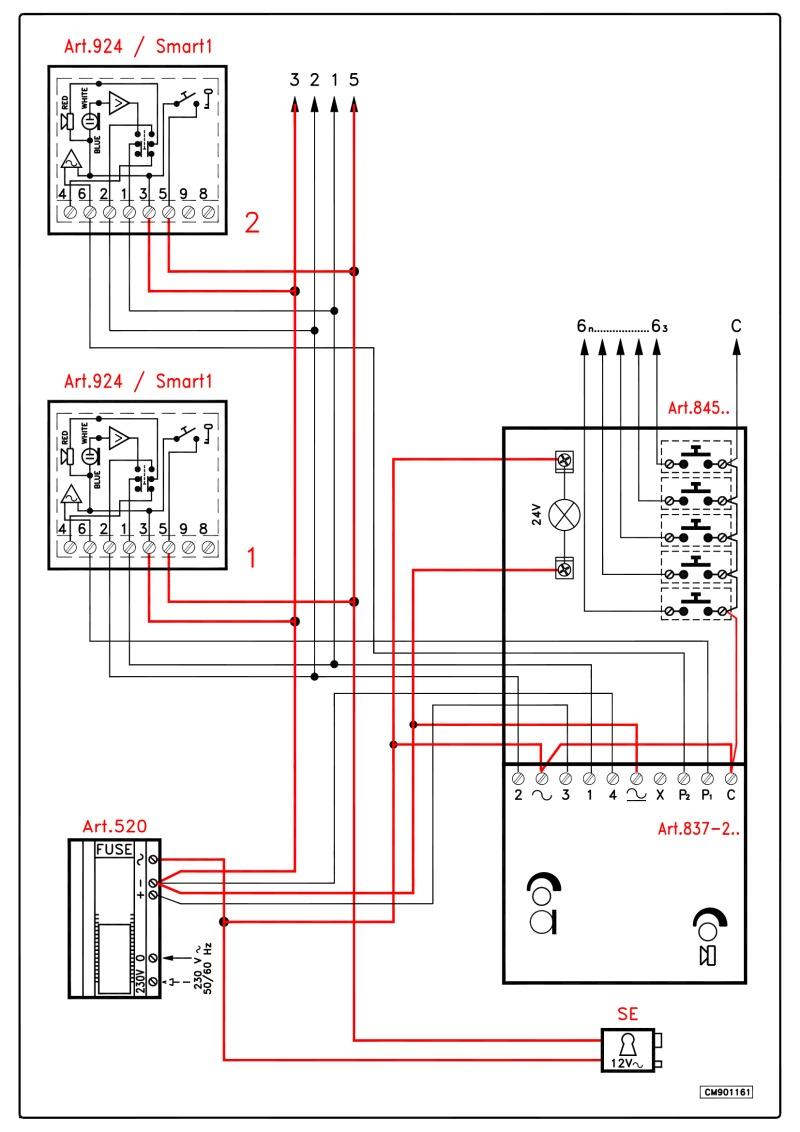 Videx 837 series Audio Wiring Diagram (4+n) - 1 x Entrance (