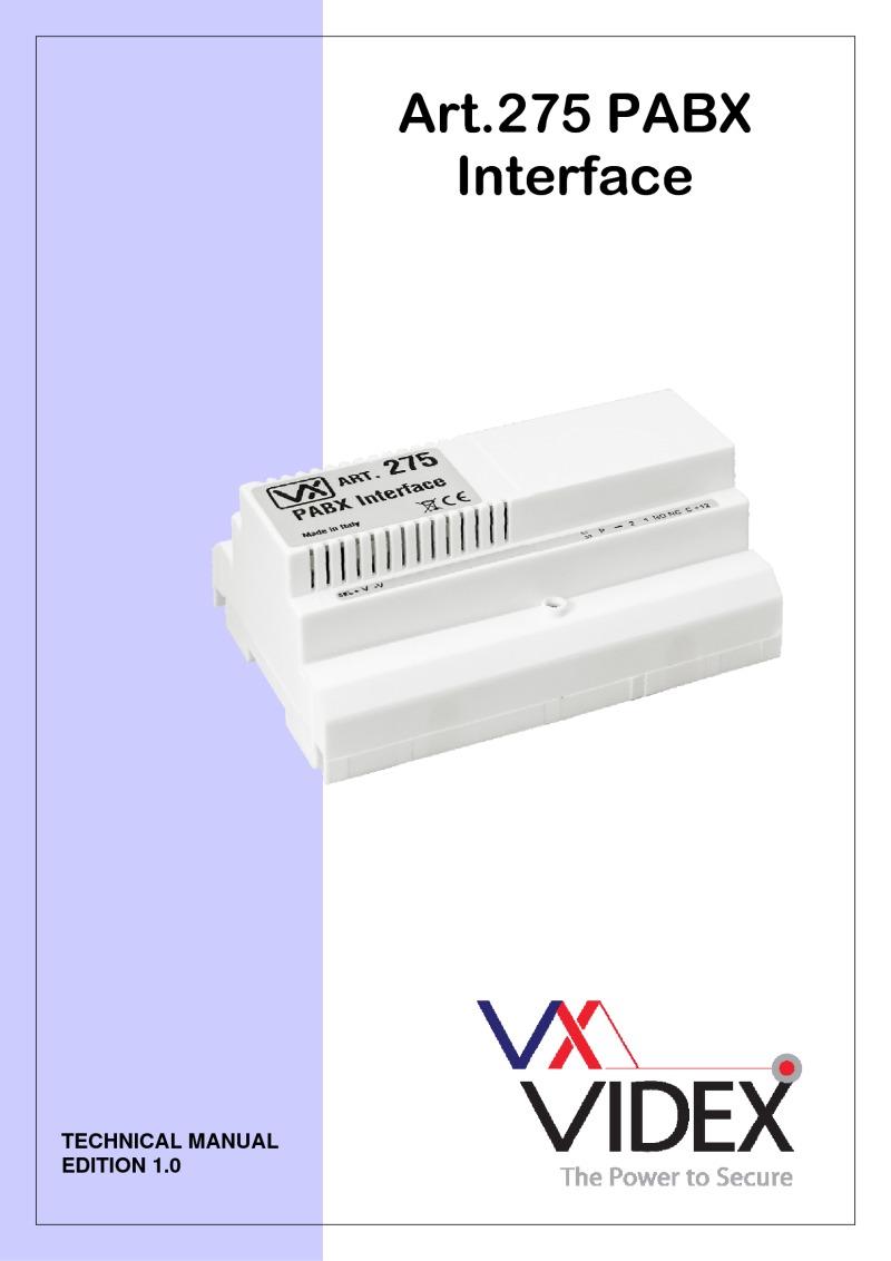 Videx Miscellaneous Wiring Diagrams Interface Module Diagram 275 Manual