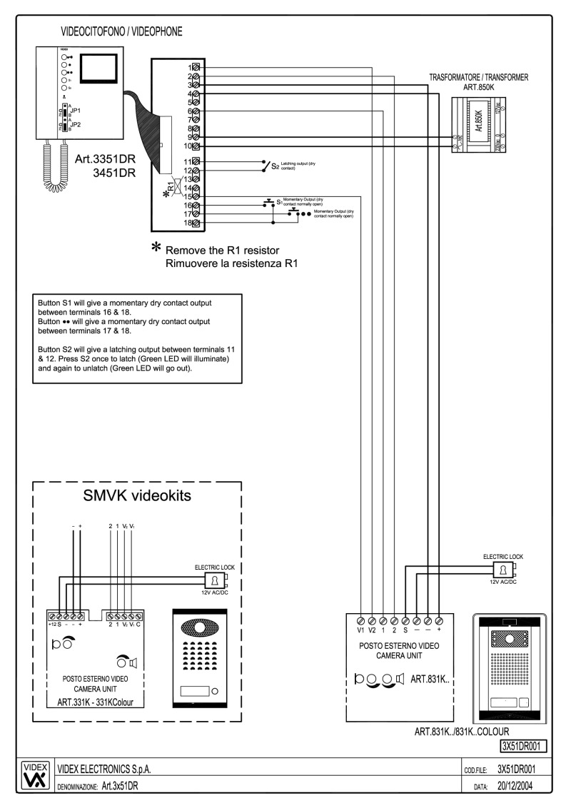 Videx 831K series Video Wiring Diagram - 1 x Entrance, 1 x video phone