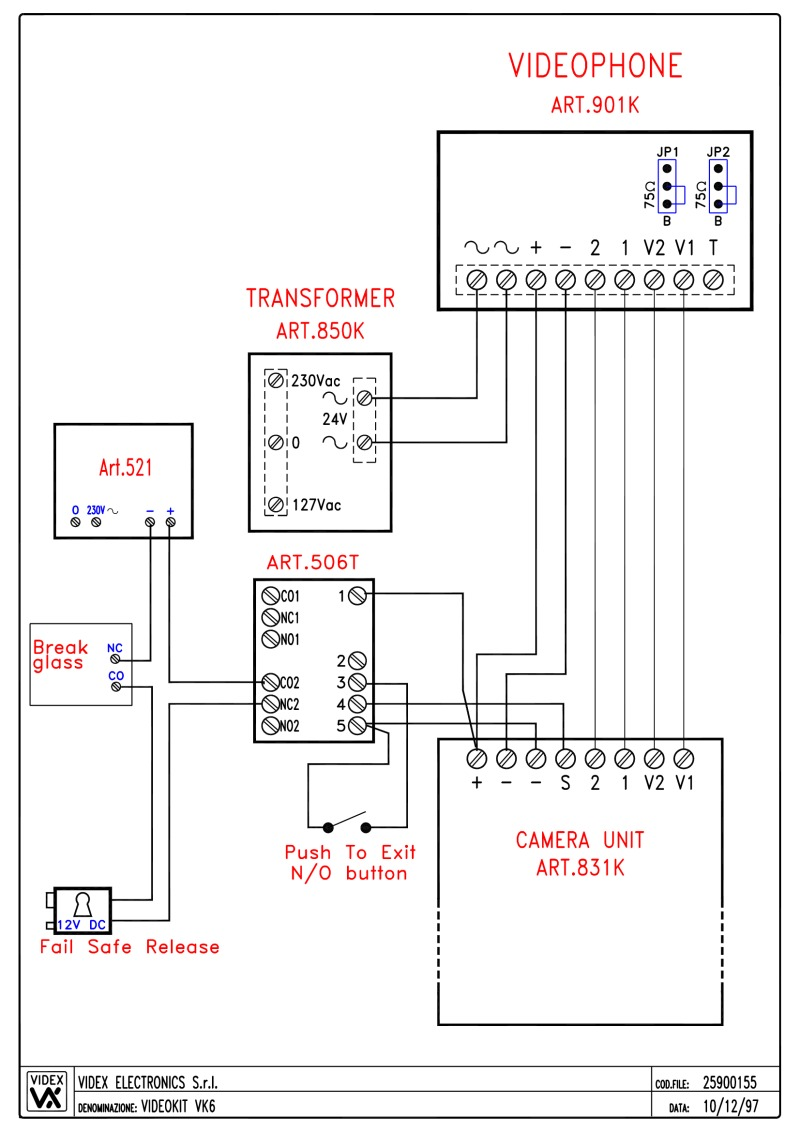 Videx Kit Wiring Diagrams Request To Exit Diagram Video Vk6 Based 1 Entrance Button 831k Panel