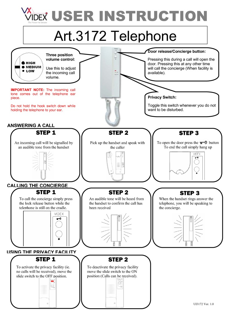 Videx Installation Instructions Digital Electronic Lock Circuit Diagram And User Instruction Manual For V 3172