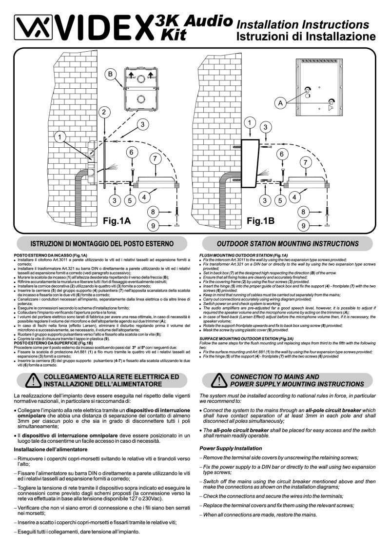 Videx 3K series Kit Manual videx installation instructions videx 3000 series wiring diagram at soozxer.org