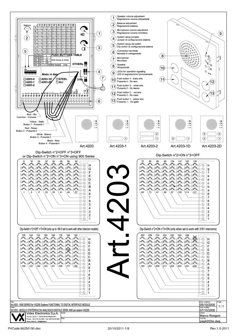 Videx Installation Instructions Interface Module Wiring Diagram 4203 Audio Digital To Functional 2 Wire