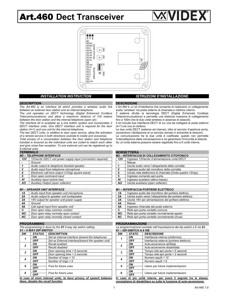Schema Elettrico Citofono : Art.460 dect transceiver