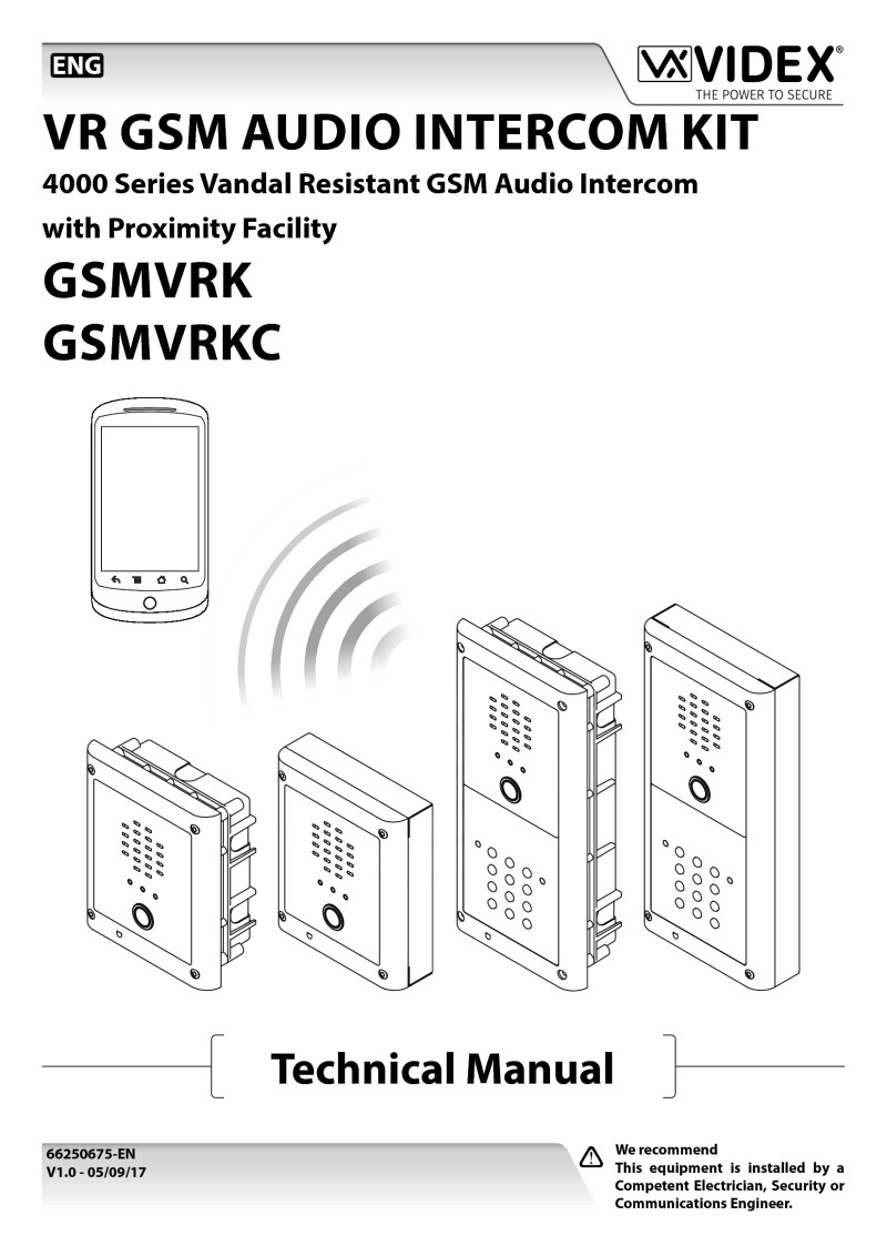 Videx V Gsmvrk 1s 1 Button Vr 4000 Series Surface Gsm Audio Kit Connecting Logisty Daitem Intercoms To Cb1 Control Panel Technical Manual