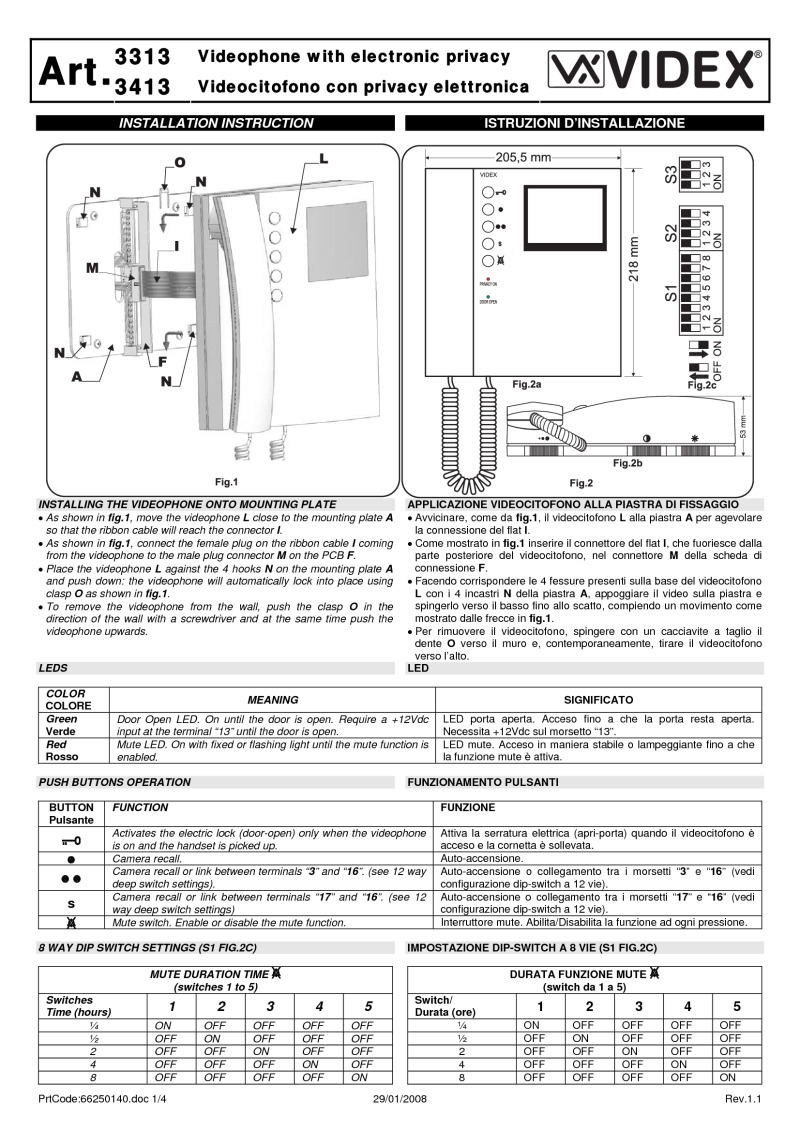 Videx installation instructions videx 3313 video monitor installation guide asfbconference2016 Images