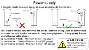 Recommended power supply connection