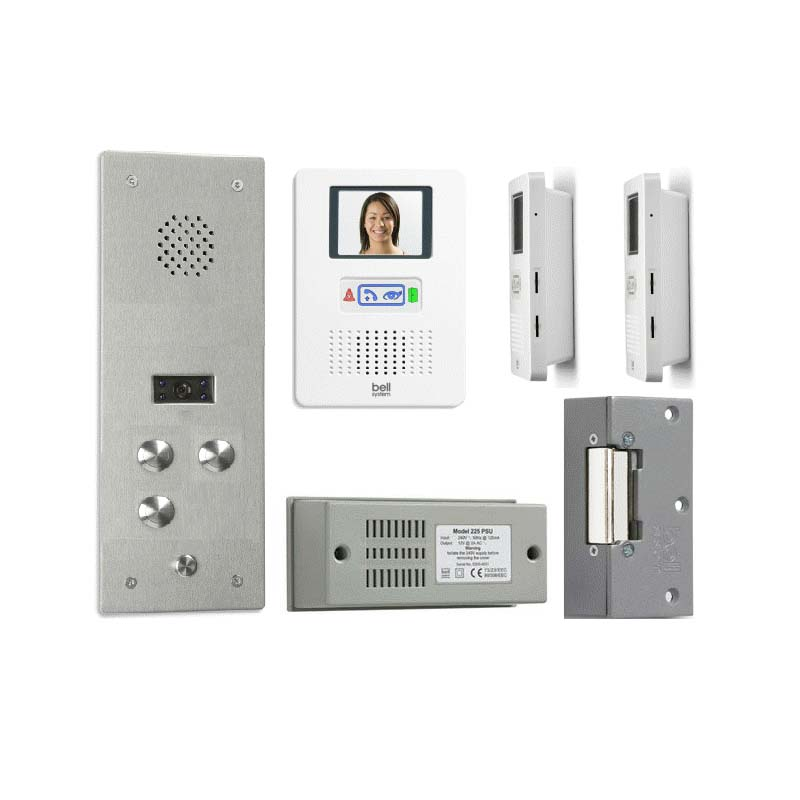 Bell System - 3 Way Bellfree Flush Colour Video Entry Kit