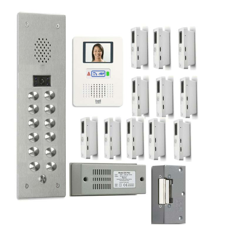 Bell System - 12 Way Bellfree Flush Colour Video Entry Kit