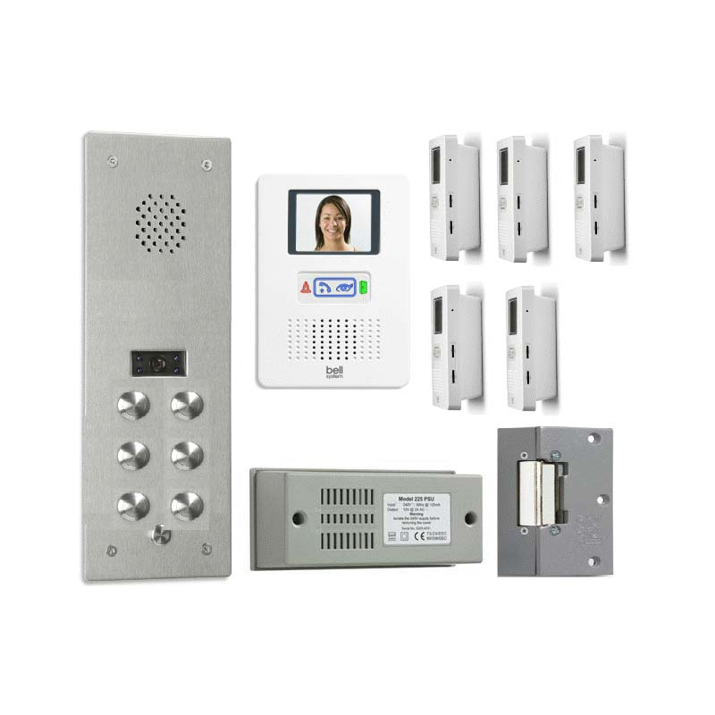 Bell System - 6 Way Bellfree Surface Colour Video Entry kit