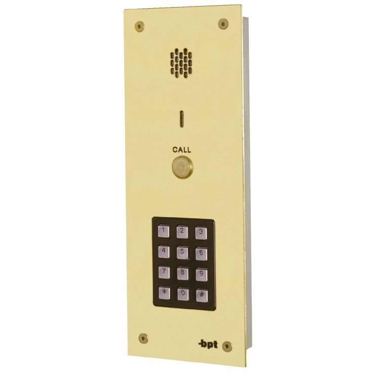 Brass Vandal Resistant Audio panel with Keypad - X1ACK and 1