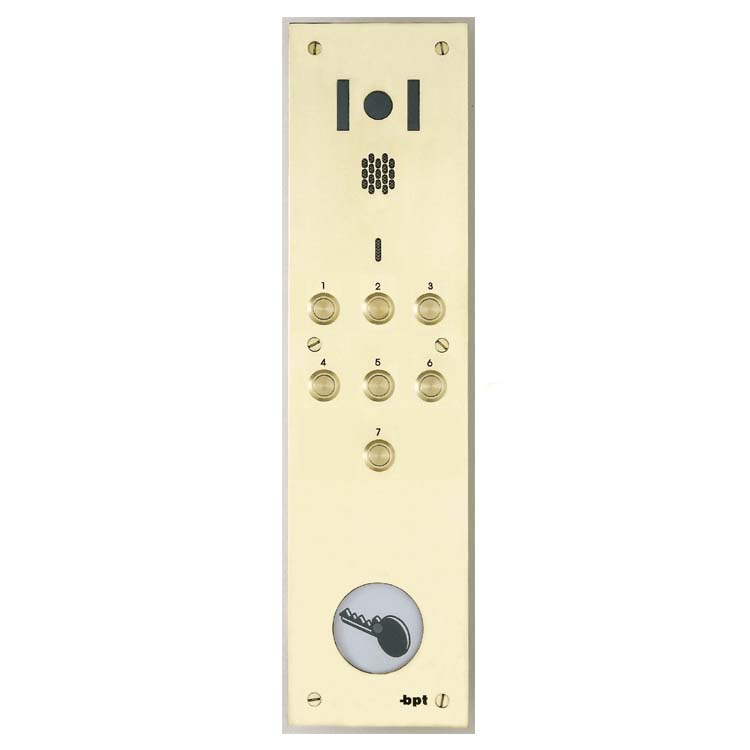 BPT - 7 Button Brass Video Panel with Proximity for System 200