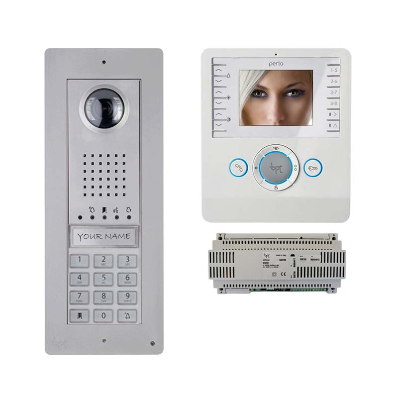BPT - 1 Way Video Keypad Kit with White Perla Monitor