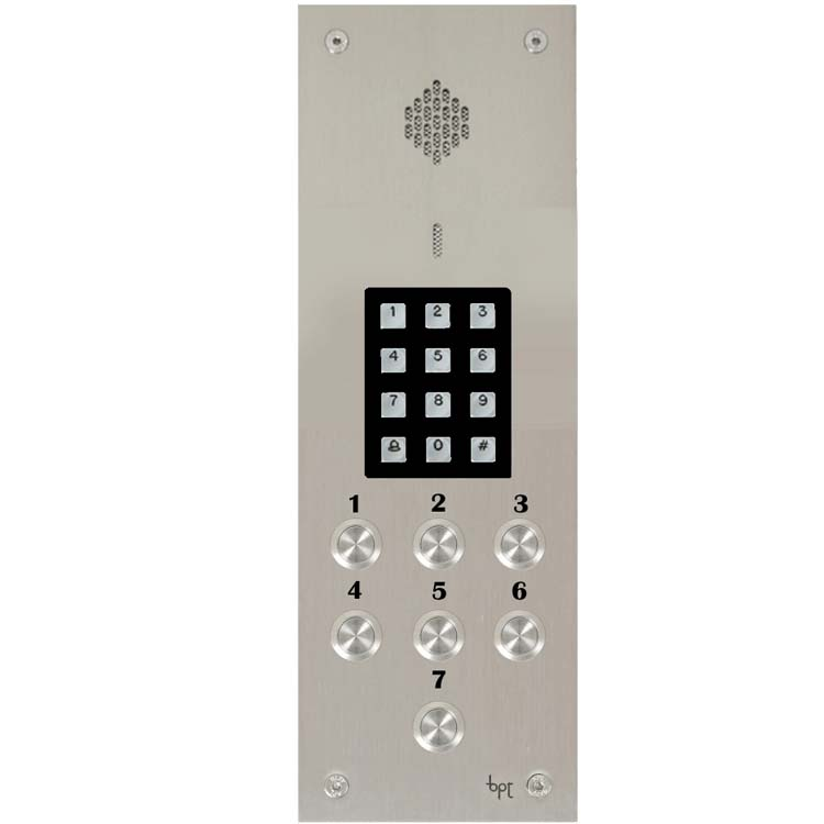 BPT - 7 Way Audio Vandal Resistant Panel with Keypad for System 200