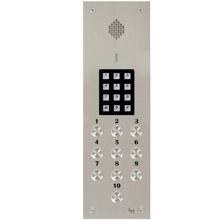 BPT - 10 Way Audio Vandal Resistant Panel with Keypad for System 300