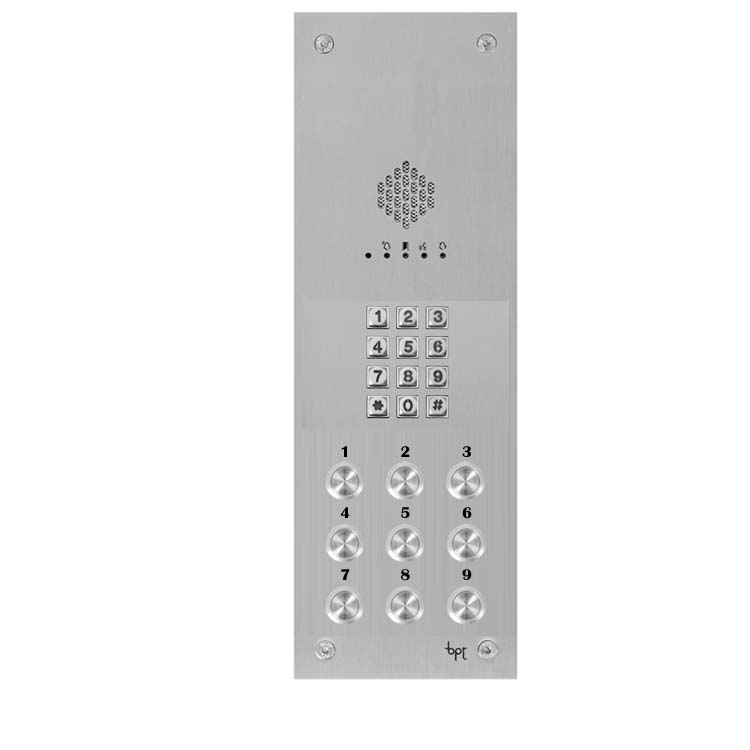 BPT - 9 Way Audio Vandal Resistant Panel with Keypad for X1 Systems