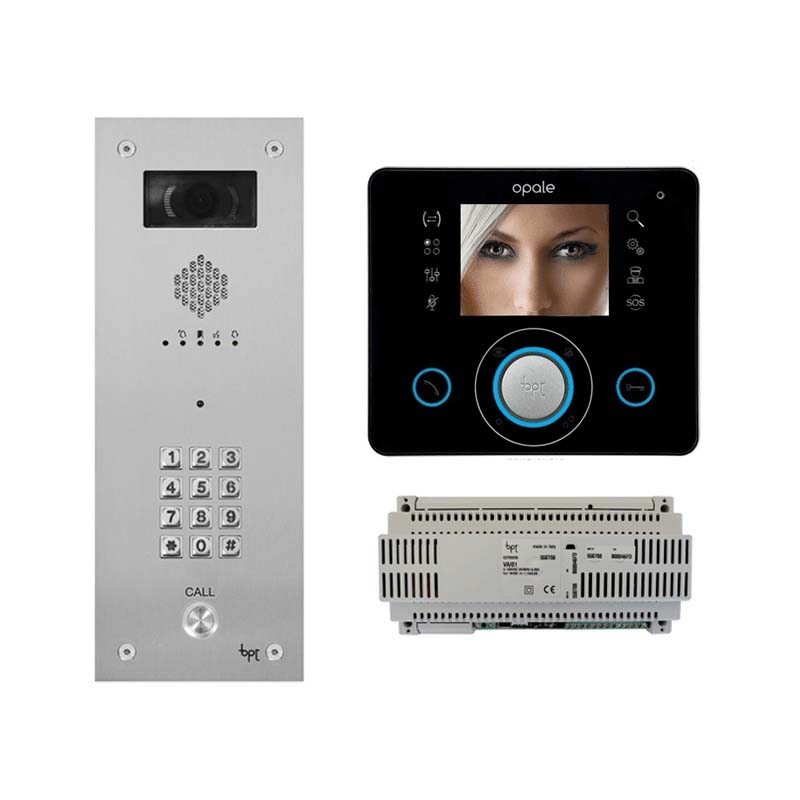 BPT - 1 Way Vandal Resistant Kit with Keypad and Black Opale Monitor
