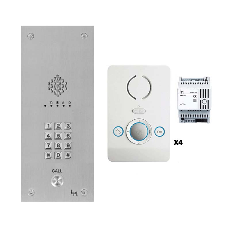 BPT - 1 Way Vandal Resistant Kit with Keypad and 4 White Perla Units