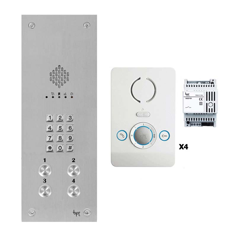BPT - 4 Way Vandal Resistant Kit with Keypad and White Perla Units