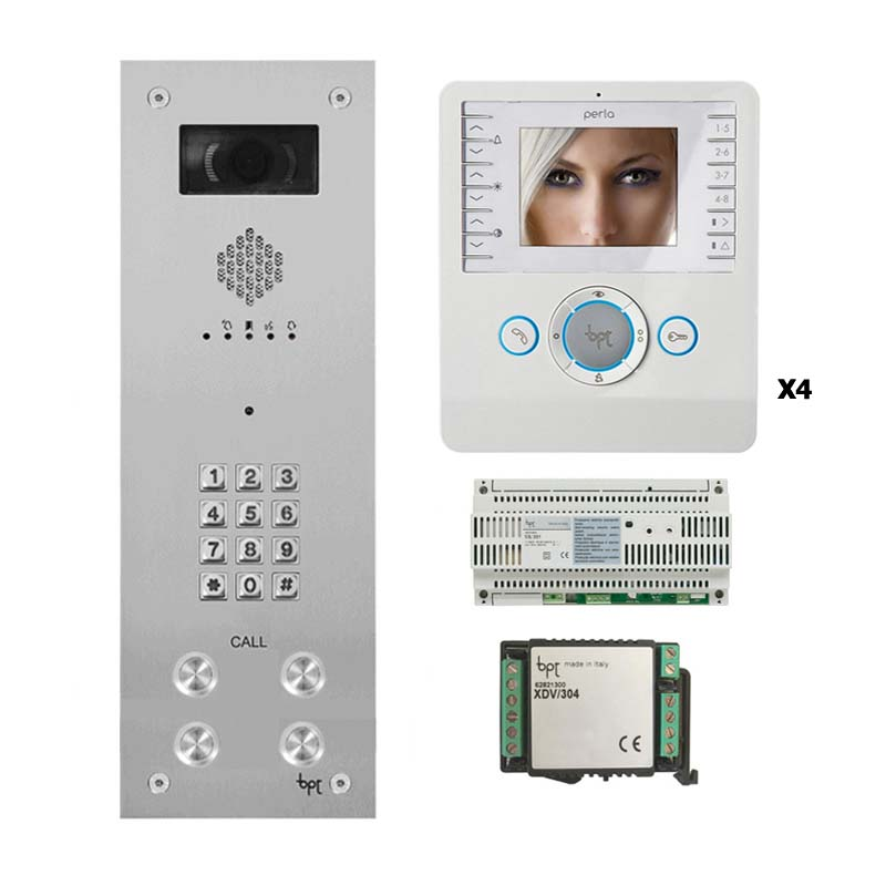 BPT - 4 Way Vandal Resistant Kit with Keypad and White Perla Monitors