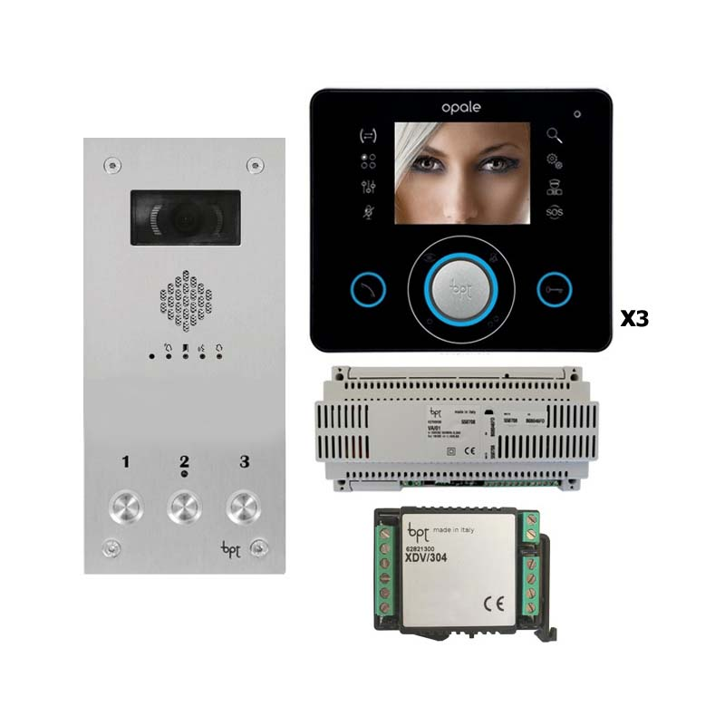 BPT - 3 Way Vandal Resistant Video Kit with Black Opale Monitors