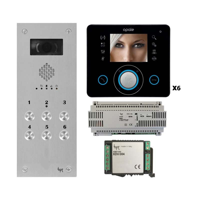 BPT - 6 Way Vandal Resistant Video Kit with Black Opale Monitors