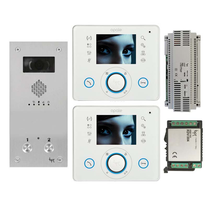 BPT - 2 Way Vandal Resistant Video Kit with White Opale Monitors