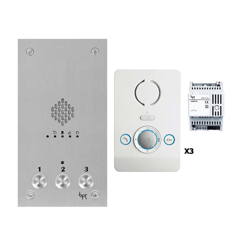 BPT - 3 Way Audio Vandal Resistant Kit with White Perla Units
