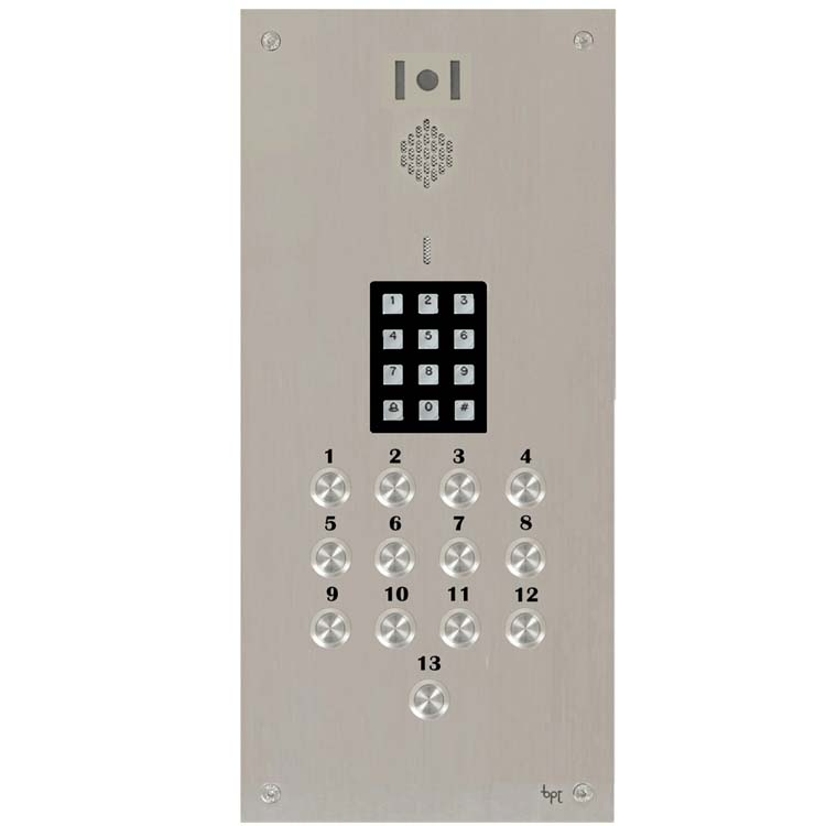 BPT 13 button, s.steel Sys 300, VR video panel, keypad
