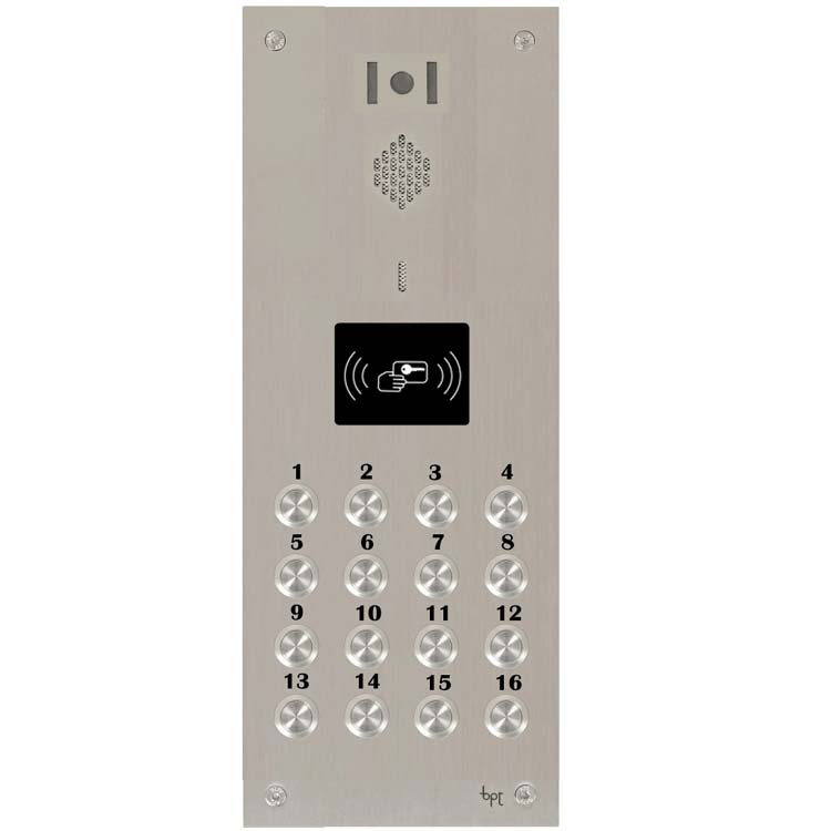 BPT 16 button, s.steel Sys 300, VR video panel, prox