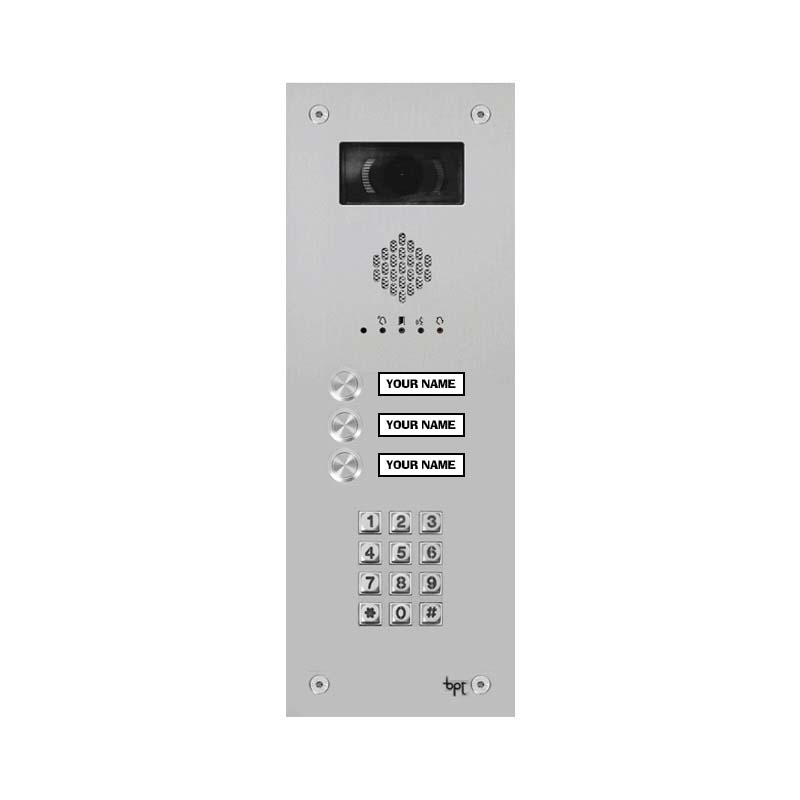BPT - 3 Way Vandal Resistant Name Window Keypad Kit and Agata Monitors