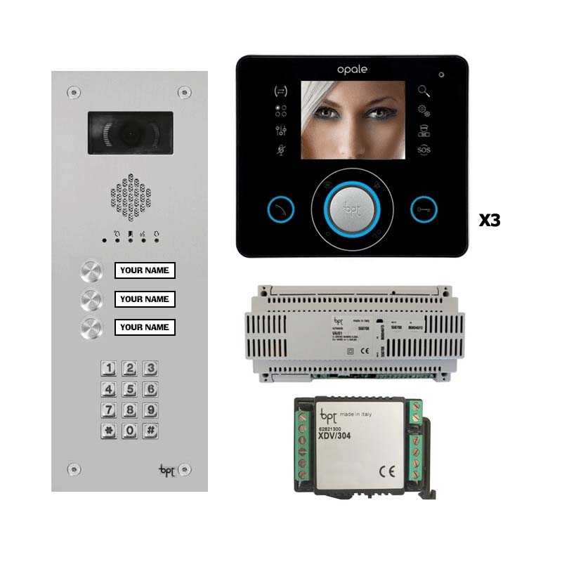 BPT - 3 Way Vandal Resistant Kit with Keypad and Black Opale Monitors