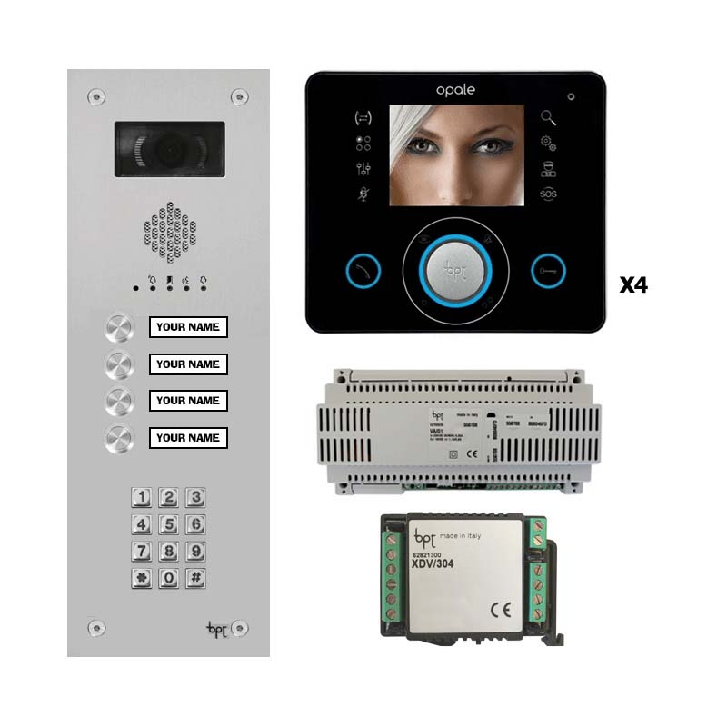 BPT - 4 Way Vandal Resistant Kit with Keypad and Black Opale Monitors