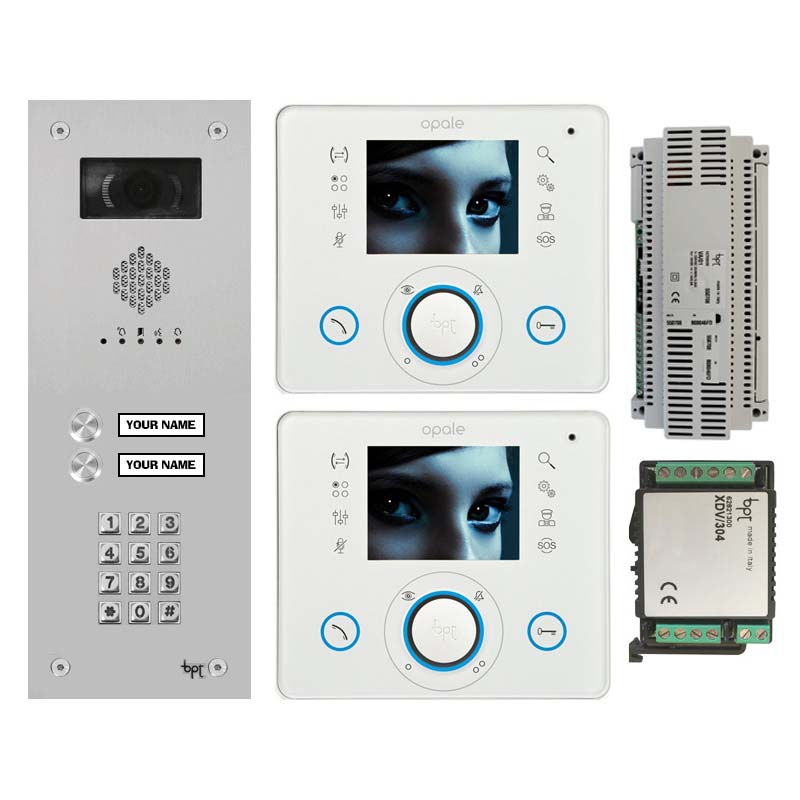 BPT - 2 Way Vandal Resistant Kit with Keypad and White Opale Monitors