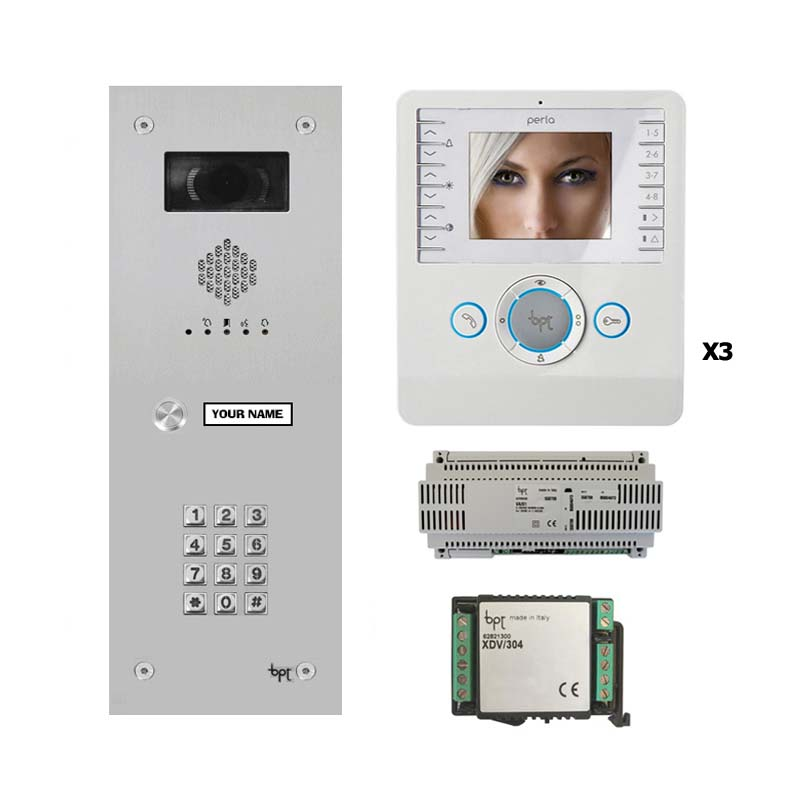 BPT - 1 Way Vandal Resistant Name Window Keypad Kit and White Perla