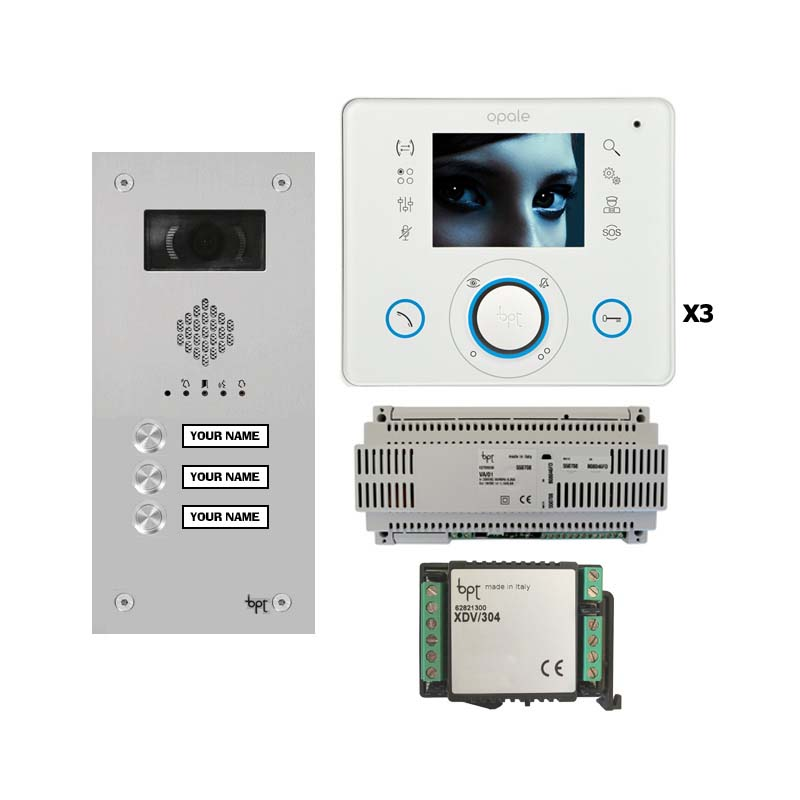 BPT - 3 Way Vandal Resistant Name Window Kit with White Opale Monitors