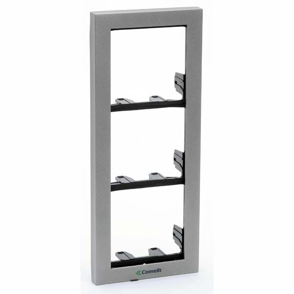 Comelit - IKall 3 Module Holder Frame with Cornice - Silver