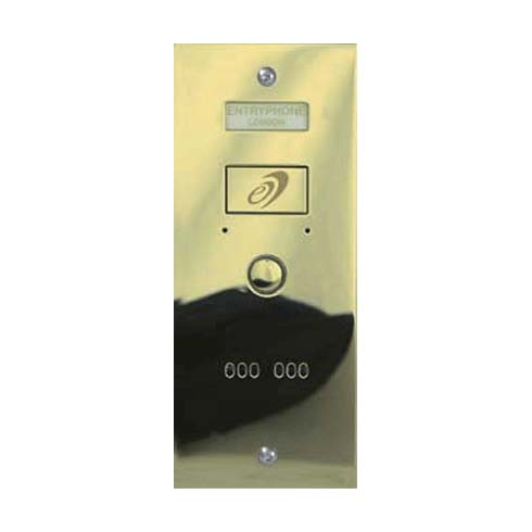 Entryphone - 1 Button Flush Polished Brass Entrance Panel