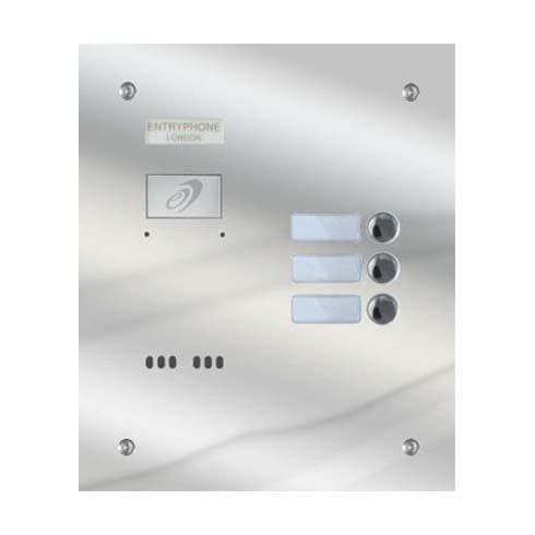 Entryphone - 3 Button Flush Polished Stainless Steel Entrance Panel