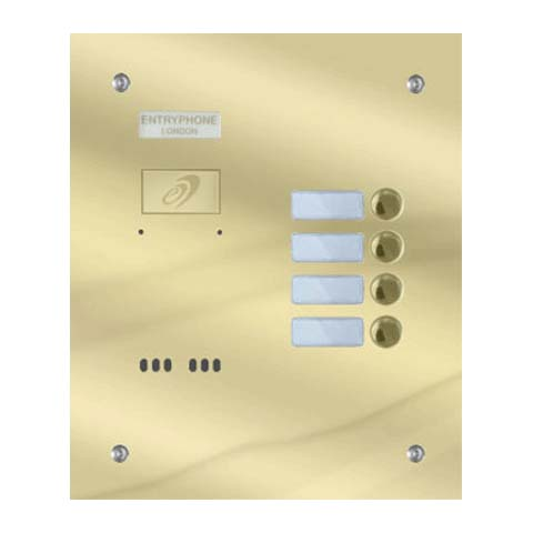 Entryphone - 4 Button Flush Polished Brass Entrance Panel