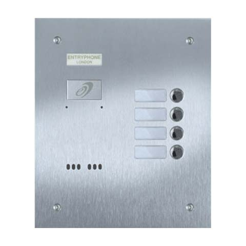 Entryphone - 4 Button Flush Brushed Stainless Steel Entrance Panel
