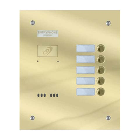 Entryphone - 5 Button Flush Polished Brass Entrance Panel