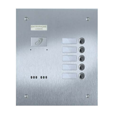 Entryphone - 5 Button Flush Brushed Stainless Steel Entrance Panel