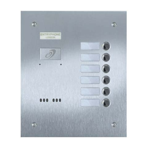 Entryphone - 6 Button Flush Brushed Stainless Steel Entrance Panel