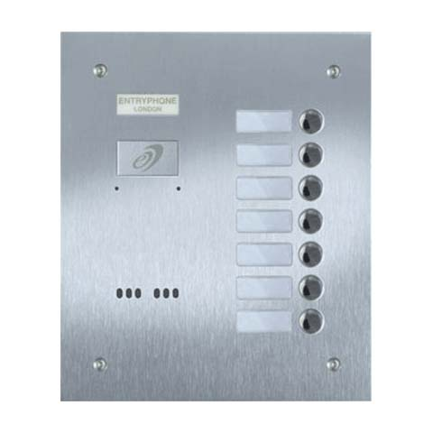 Entryphone - 7 Button Flush Brushed Stainless Steel Entrance Panel